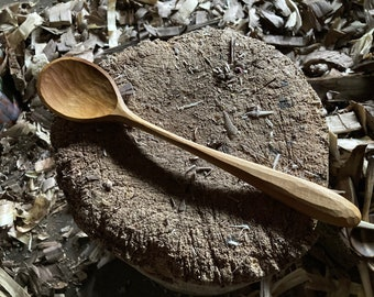 """11"""" cooking spoon, serving spoon, wooden spoon, hand carved by the small apprentice"""
