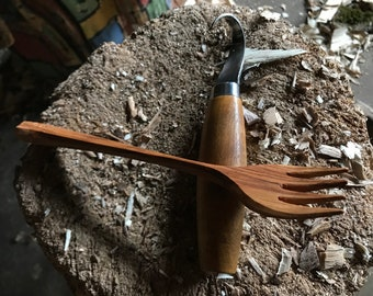 Wooden eating fork, hand carved, carved by the large apprentice.