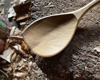 "8"" eating spoon, dinner spoon, wooden spoon, serving spoon, hand carved wooden spoon"
