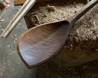 "13"" cooking spoon, serving spoon, left handed, hand carved wooden spoon"