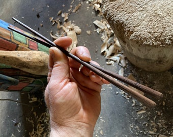 "10"" hand carved wooden chopsticks, hand carved by the large apprentice"