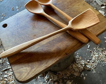 "14"" wok style spoon, wooden spoon, cooking spoon, serving spoon, made with hand tools"