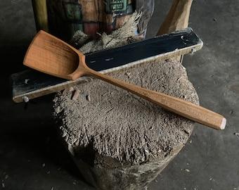 "12"" wok style spoon, wooden spoon, cooking spoon, serving spoon"