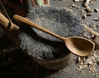 """12"""" cooking spoon, serving spoon, left handed, apprentice carved wooden spoon"""