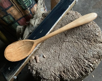 """11"""" cooking spoon, serving spoon, wooden spoon, apprentice carved wooden spoon"""