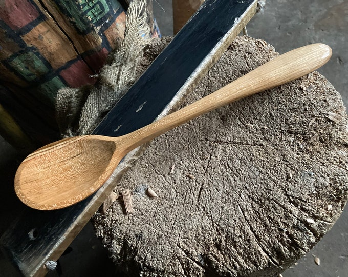 """Featured listing image: 11"""" cooking spoon, serving spoon, wooden spoon, apprentice carved wooden spoon"""