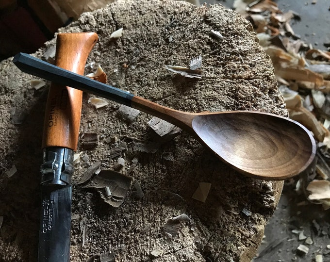 """Featured listing image: 7"""" tea spoon, table spoon, wooden spoon, serving spoon, hand carved wooden spoon"""