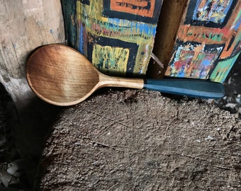 """9"""" rice paddle, cooking spoon, wooden spoon, serving spoon, hand carved wooden spoon"""