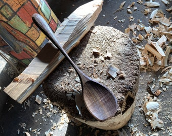 """12"""" cooking spoon, serving spoon, right handed, hand carved by the small apprentice"""