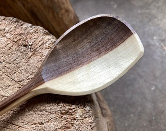 """12"""" cooking spoon, serving spoon, wooden spoon, hand carved by the large apprentice"""