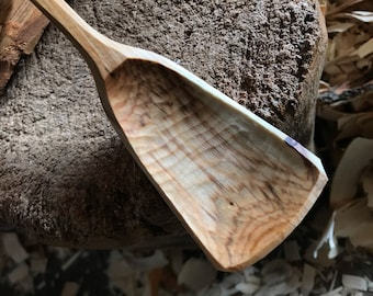 "12"" cooking spoon, wooden spoon, serving spoon, hand carved by the large apprentice"