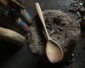 """12"""" cooking spoon, serving spoon, wooden spoon, hand carved wooden spoon"""