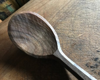 """11"""" cooking spoon, serving spoon, hand carved wooden spoon by my son, the """"small apprentice"""""""