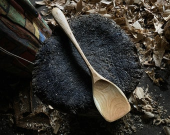 """12"""" serving spoon, cooking spoon, hand carved by the small apprentice."""