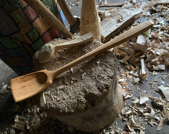"15"" wok style spoon, wooden spoon, cooking spoon, serving spoon"
