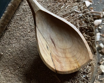 "11""cooking spoon, serving spoon, left handed, hand carved wooden spoon"