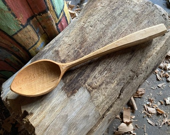 "12"" cooking spoon, wooden spoon, serving spoon, kitchen spoon, hand carved by the large apprentice"