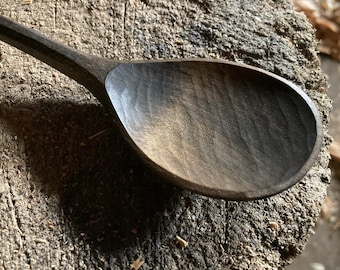 """8"""" dinner spoon, table spoon, wooden spoon, serving spoon, hand carved wooden spoon"""