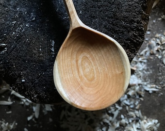 """12"""" cooking spoon, wok ladle, serving spoon, hand carved wooden spoon"""