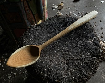 """12"""" cooking spoon, wooden spoon, serving spoon, kitchen spoon, hand carved"""