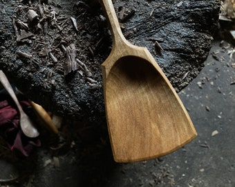 """12"""" wok style spoon, wooden spoon, cooking spoon, serving spoon, made with hand tools"""