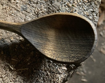 """7"""" dinner spoon, table spoon, wooden spoon, serving spoon, hand carved wooden spoon"""