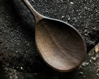 """10"""" serving spoon, wooden spoon, hand carved by the large apprentice"""