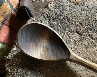 """9"""" cooking spoon, serving spoon, wooden spoon, hand carved wooden spoon"""