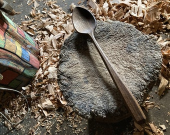 """12"""" cooking spoon, wooden spoon, serving spoon, kitchen spoon, hand carved by the large apprentice"""