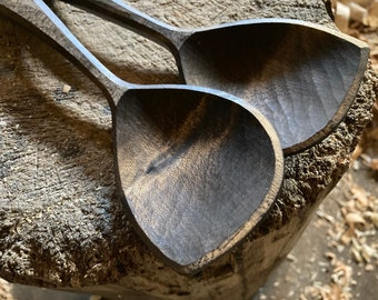 """9"""" salad spoons, serving spoons, cooking spoons, hand carved wooden spoons"""