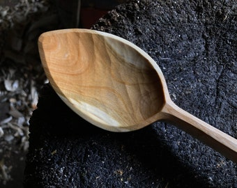 """10"""" cooking spoon, wooden spoon, serving spoon, kitchen spoon, hand carved"""