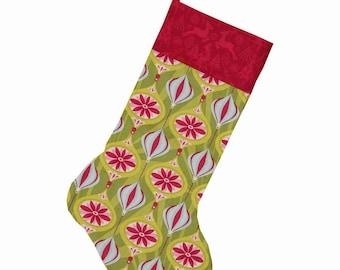 Christmas: Christmas sock, or large boot collection 'The festive season Joy' - red and green