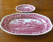 RARE 19 1 4 quot Serving Platter Copeland Pink Spode 39 s Tower England Large Plate Tray Red Transferware Turkey Platter Serving Dish Oval Spode