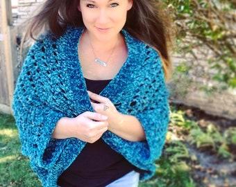 Woman's Faux Velvet Cocoon Shurg | Ladies Super Soft Blanket Sweater | Made to Order Gift for Her | Women's Velvety Plush Cardigan