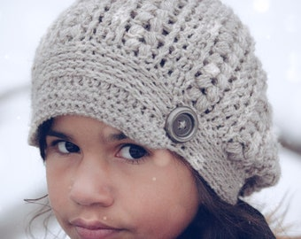 Willow Creek Newsboy Style Slouchy Beanie | Child and Adult Size | Handmade Textured Knit Slouch Hat | Winter Stocking Stuffer for Her |