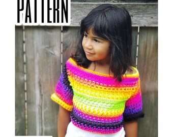 Crochet PATTERN Girl's Sweater | Kid's Fall Slouchy Sweater Pattern | Girl's Cropped Off The Shoulder Top Crochet Pattern | PDF Download