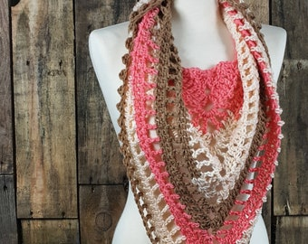 Peachy Boho Crocheted Scarf | Triangle Scarf | Gift for Her | Ladies Tassle Scarf | Ready to Ship | Boho Spring Scarf | Women's Shawl