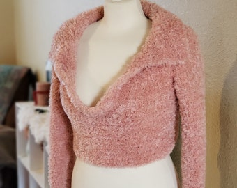 Faux Fur Blush Pink Size Small Women's Cropped V-Neck Collared Sweater | Ready To Ship Pullover For Her | Spring Sweater Weather