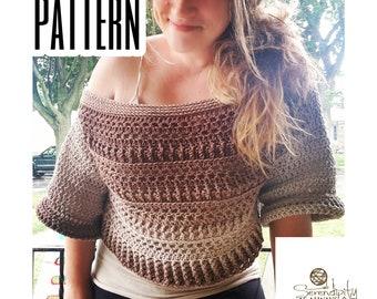 Fall Slouchy Sweater Crochet PATTERN   Women's Off The Shoulder Crop Sweater Pattern   Felicity Sweater Pattern   PDF Digital Download