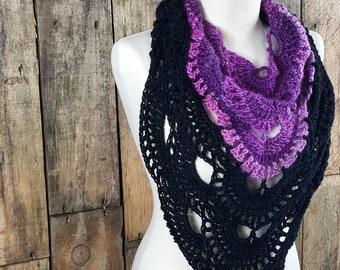 Women's Black and Purple Virus Scarf   Boho Spring Scarf   Triange Scarf for Ladies   Ready to Ship   Gift for Her   Two Tone Color Dipped
