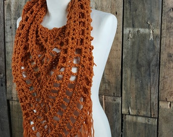 Fringe Scarf   Women's Boho Spring Scarf   Orange Triangle Scarf   Gift for Her   Ready to Ship   Bohemian Fringe Scarf   Light Weight Scarf