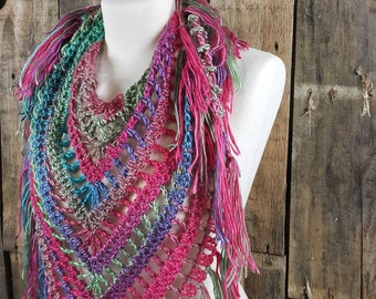 Boho Fringe Scarf | Light Weight Spring Scarf | Ready To Ship | Pink Multi Color Scarf | Ladies Triangle Shawl | Parrot Bohemain Scarf