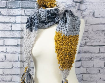 Textured Winter Scarf   Grey Black and Mustard Women's Scarf   Ready to Ship   Bulky Scarf   Tassle Wrap Scarf   Free US Shipping