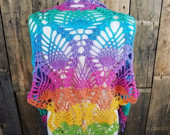 Unicorn Summer Shawl   Rainbow Pineapple Scarf   Colorful Summer Wrap   Ready to Ship   Gift for Her   Light Weight Cotton Scarf