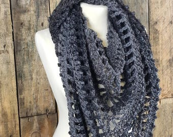 Bulky Boho Triangle Scarf   Black and Gray Ladies Scarf   Gift for Her   XL Triangle Scarf   Ready to Ship   Women's Onyx Shawl   Free Ship