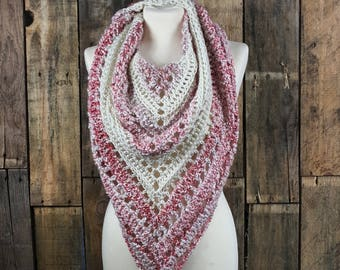 Bulky Boho Triangle Scarf   Pink Boho Scarf   Pink and Off White Shawl   Women's Winter Tassle Scarf   Gift for Her   Ready to Ship