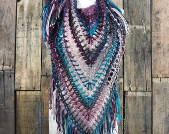 Boho Fringe Scarf | Light Weight Spring Scarf | Ready To Ship | Teal Multi Color Scarf | Ladies Triangle Shawl | Womens Berry Bohemain Scarf