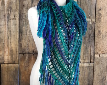 Blue Green Boho Fringe Scarf   Ready to Ship Gift for Her   Triangle Crocheted Scarf   Scarf for Women   Ladies Spring Triangle Shawl