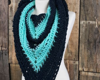 Black and Mint Bulky Boho Winter Scarf   Bulky Triangle Scarf   Ready to Ship   Women's Triangle Tassle Scarf   Free Shipping   Gift for Her