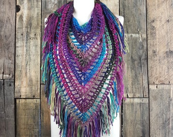 Boho Fringe Scarf   Light Weight Spring Scarf   Ready To Ship   Stained Glass Color Scarf   Ladies Triangle Shawl   Womens  Bohemain Scarf